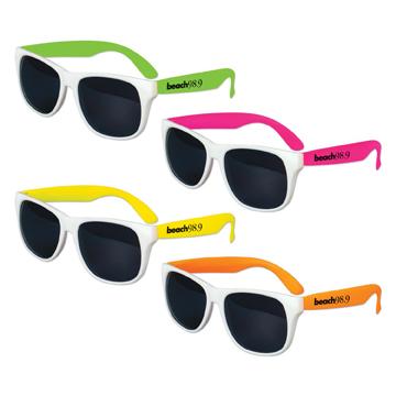 S36046X - Kids White Frame Classic Neon Sunglasses