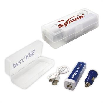 KITCAR - Travel Kits with Rechargeable 2200mAh Power Bank and Car Charger