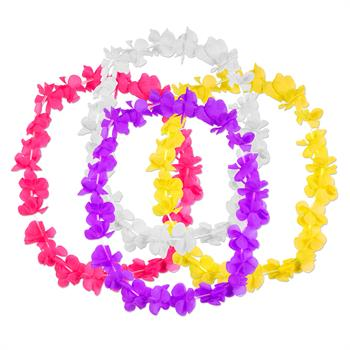 S1499 - Solid Silk Flower Leis Assorted