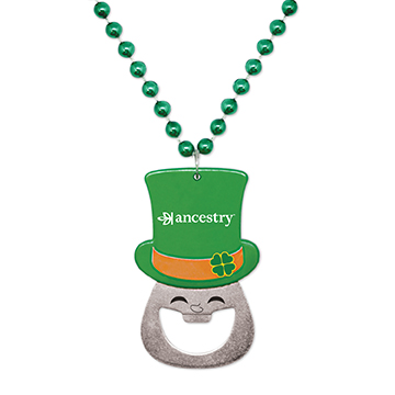 S55110X - Leprechaun Bottle Opener Medallion Beads