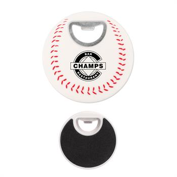 S55124X - Baseball Coaster Bottle Opener