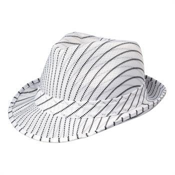Pinstripe Fedora - White