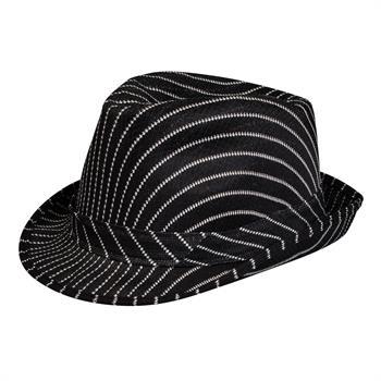 Pinstripe Fedora - Black