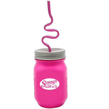WL896X - Pink Krazy Straw Mason Jar Asst