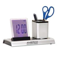 LED Clock & Square Pencil Cup