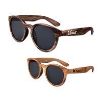Wood Round Lens Sunglasses
