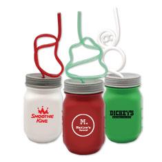 Krazy Straw Holiday Mason Jars