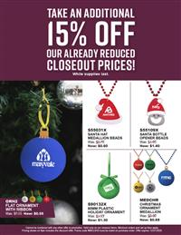 Holiday Blowout Sale! 15% Off Closeouts! EUF